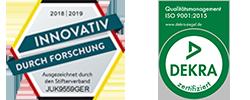 Forschung-und-Entwicklung-2018-Auszeichnung-und-Dekra-Siegel-ISO-9001-2015